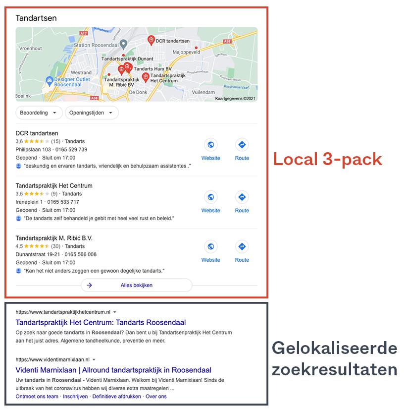 Lokale SEO marketing met local 3-pack en gelokaliseerde zoekresultaten
